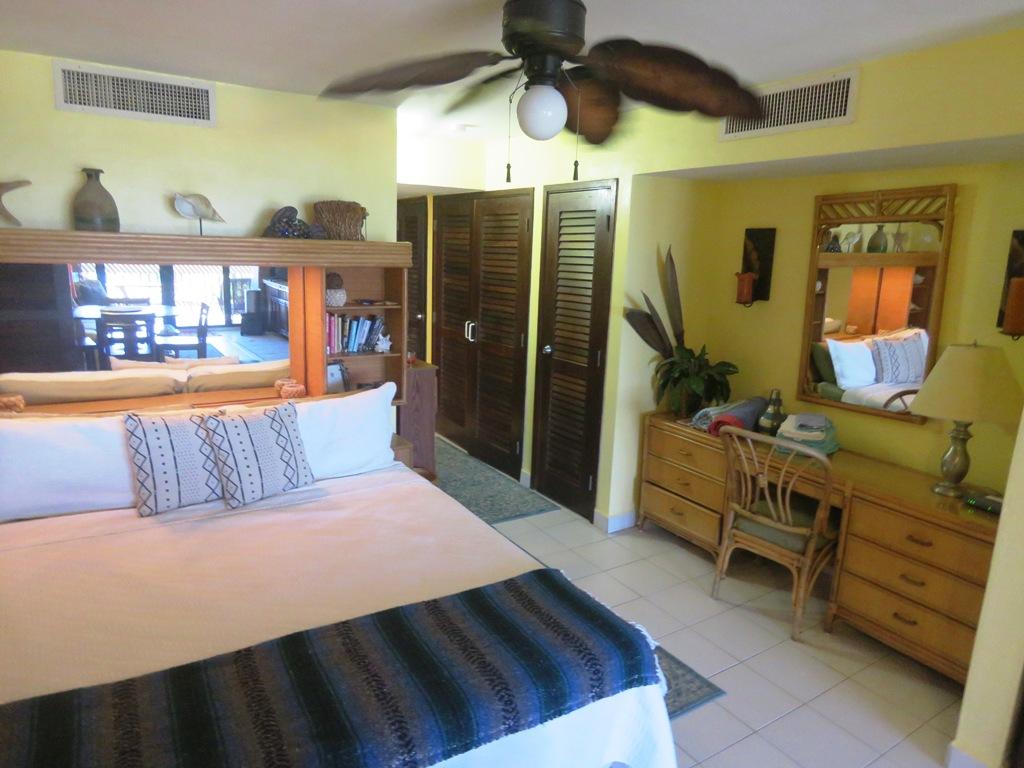Desk in bedroom area